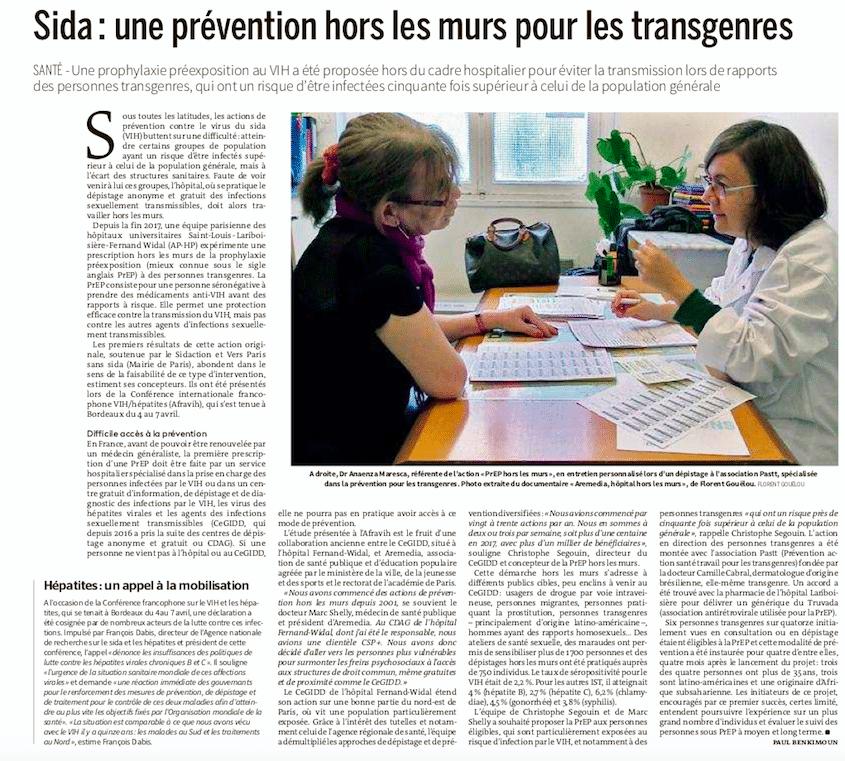 «Sida : une prévention hors les murs pour les transgenres» – Le Monde