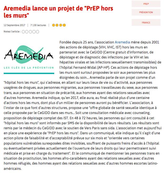«Aremedia lance un projet de PrEP hors les murs» – Seronet