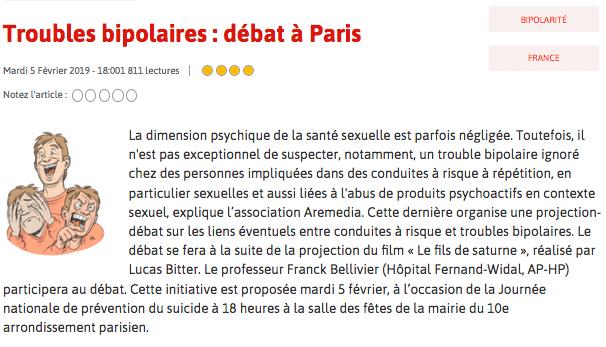 «Troubles bipolaires : débat à Paris» – Seronet