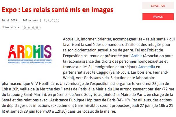 Exposition : «Les relais santé acteurs de prévention